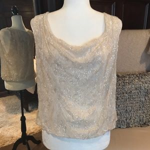 Alice + Olivia Ivory Beaded Sleeveless Top Med NWT